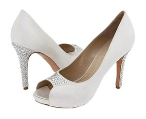 Alexander McQueen Crystal Wedding Platform Featured Ivory Satin Pumps