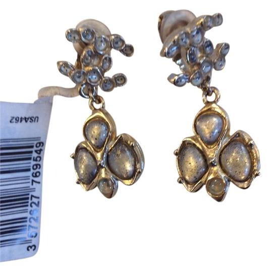 Chanel CHANEL AUTHENTIC NWT GRAYISH STONE DROP CLIP ON EARRINGS