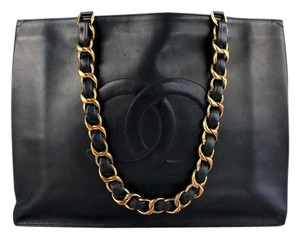 Chanel Logo Large Tote in Black