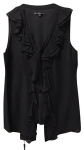 Antonio Melani Button-up Ruffles V-neck Top Black