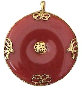 Other Vintage 14k Yellow Gold Red Jade Medallion Pendant