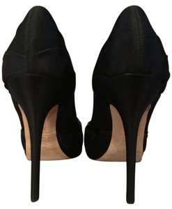 Jimmy Choo Peep Toe black satin & Mary Jane leather piping Platforms