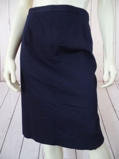Other Talbots Petites Stretch Cotton Lycra Textured Blend Straight Chic Skirt Navy Blue Image 1