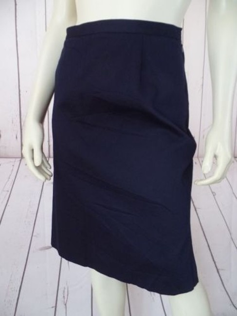 Other Talbots Petites Stretch Cotton Lycra Textured Blend Straight Chic Skirt Navy Blue Image 2