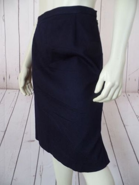 Other Talbots Petites Stretch Cotton Lycra Textured Blend Straight Chic Skirt Navy Blue Image 3