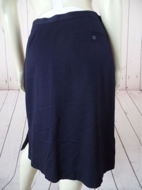 Other Talbots Petites Stretch Cotton Lycra Textured Blend Straight Chic Skirt Navy Blue Image 7