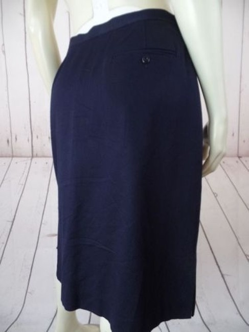 Other Talbots Petites Stretch Cotton Lycra Textured Blend Straight Chic Skirt Navy Blue Image 8