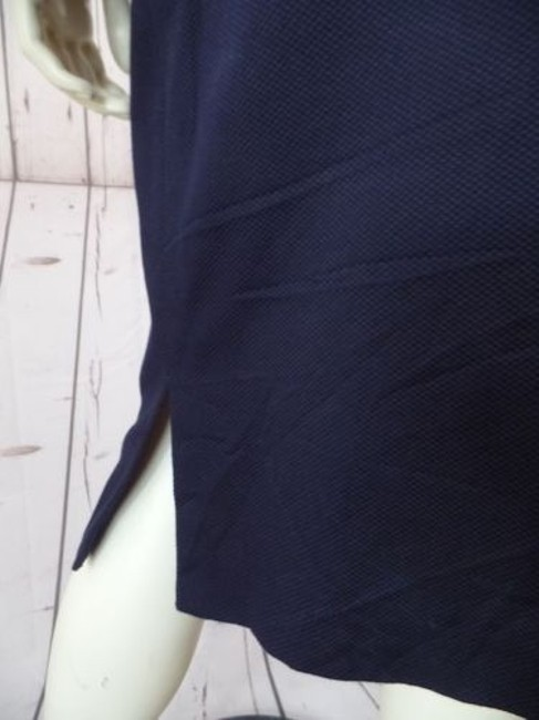 Other Talbots Petites Stretch Cotton Lycra Textured Blend Straight Chic Skirt Navy Blue Image 9