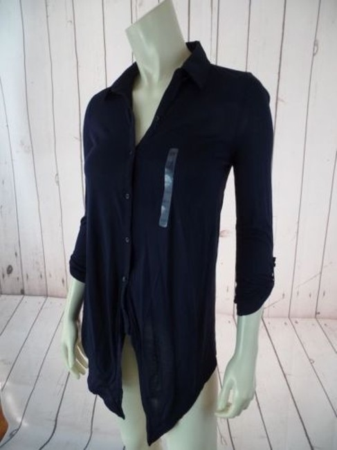 Ann Taylor Petite Xsp Sheer Lightweight Rayon Button Front Top Navy Image 10