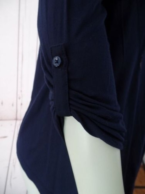 Ann Taylor Petite Xsp Sheer Lightweight Rayon Button Front Top Navy Image 4