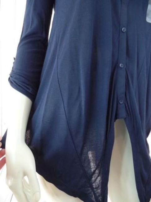 Ann Taylor Petite Xsp Sheer Lightweight Rayon Button Front Top Navy Image 5