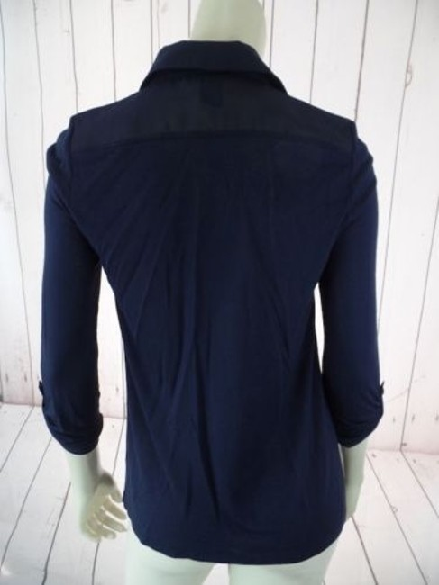 Ann Taylor Petite Xsp Sheer Lightweight Rayon Button Front Top Navy Image 6