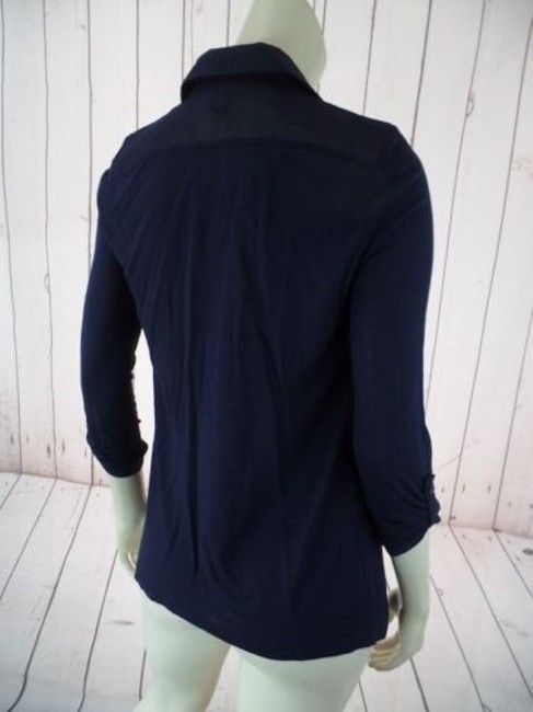 Ann Taylor Petite Xsp Sheer Lightweight Rayon Button Front Top Navy Image 7