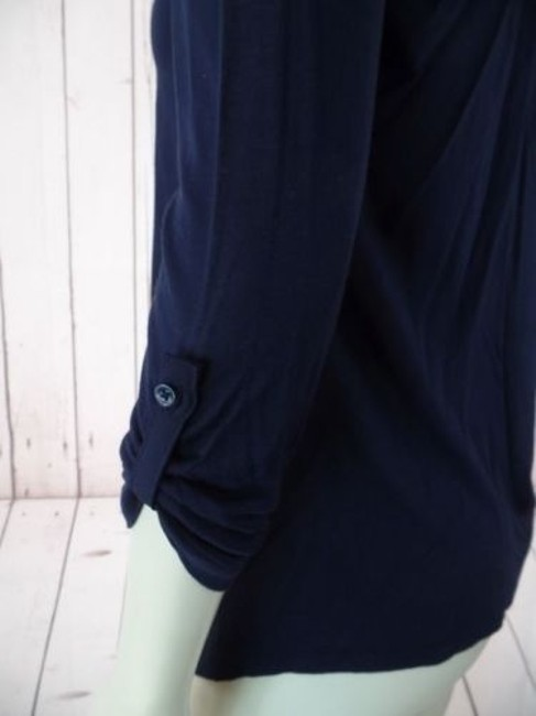 Ann Taylor Petite Xsp Sheer Lightweight Rayon Button Front Top Navy Image 8