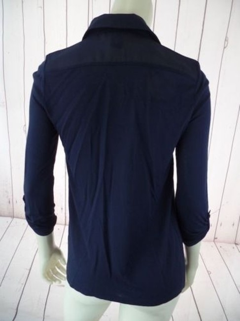 Ann Taylor Petite Xsp Sheer Lightweight Rayon Button Front Top Navy Image 9
