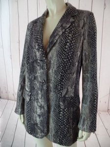Chico's Chicos Blazer 0 Snake Print Gray Black Poly Stretch Knit Button Front Lined Soft