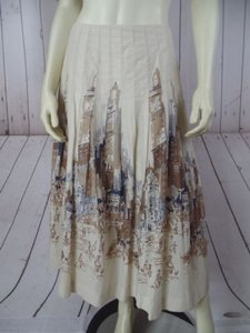 Talbots Petites Pleated Cityscape Lined Long No Waistband Pretty Skirt Pale Beige & Tan Background