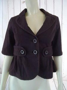 Other Ett Taia Anthropologie Blazer Brown Cotton Spandex Textured Button Front Retro