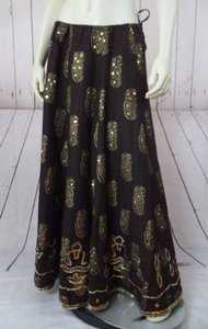 WD.NY Linen Viscose Gold Sequins Paisley Drawstring Lined Gypsy Maxi Skirt Brown