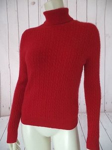 Charter Club Turtleneck Cashmere Cable Knit Two Ply Fuzzy Sweater