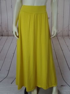 New York & Company Co Mustard Stretch Knit Long Lightweight Chic Maxi Skirt Mustard Yellow