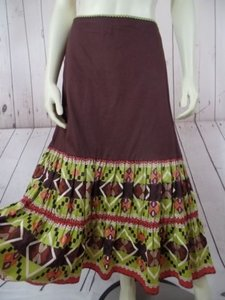 Other Randi Cotton Geometric Embroidered Ruffles Peasant Skirt Brown Greens Beige Purple
