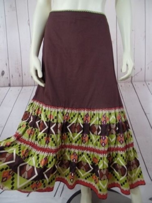 Other Randi Cotton Geometric Embroidered Ruffles Peasant Skirt Brown Greens Beige Purple Image 0