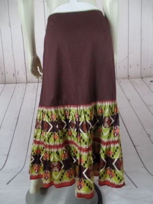 Other Randi Cotton Geometric Embroidered Ruffles Peasant Skirt Brown Greens Beige Purple Image 10