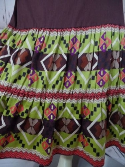 Other Randi Cotton Geometric Embroidered Ruffles Peasant Skirt Brown Greens Beige Purple Image 4