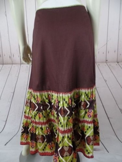 Other Randi Cotton Geometric Embroidered Ruffles Peasant Skirt Brown Greens Beige Purple Image 7