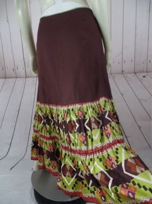 Other Randi Cotton Geometric Embroidered Ruffles Peasant Skirt Brown Greens Beige Purple Image 8