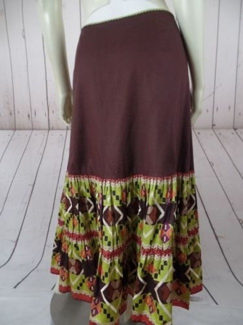 Other Randi Cotton Geometric Embroidered Ruffles Peasant Skirt Brown Greens Beige Purple Image 9
