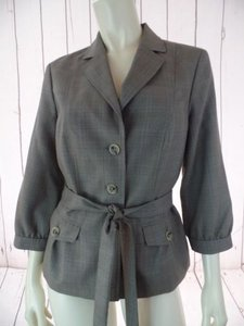 Banana Republic Banana Republic Blazer Taupe Fine Plaid Poly Wool Stretch Button Front Chic