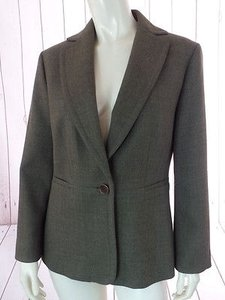 Ann Taylor Ann Taylor Blazer Olive Green Heather Wool Button Front Seamed Waist Chic