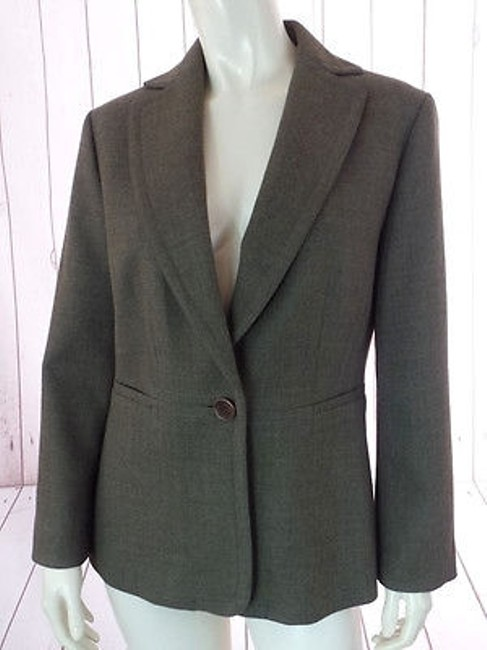 Ann Taylor Ann Taylor Blazer Olive Green Heather Wool Button Front Seamed Waist Chic Image 0
