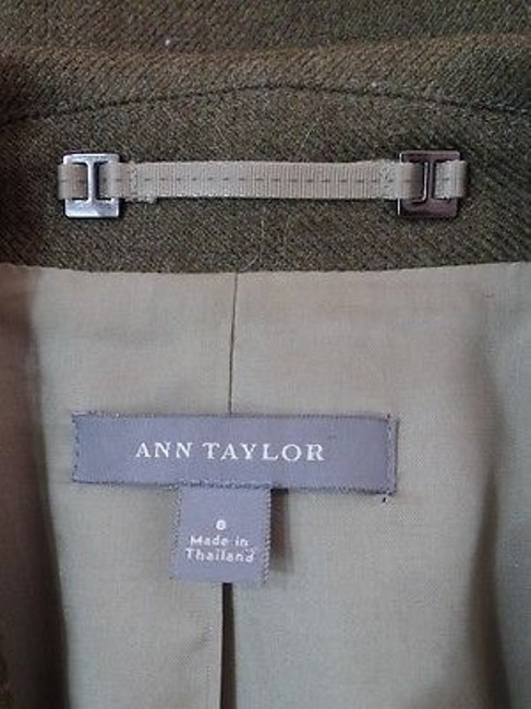 Ann Taylor Ann Taylor Blazer Olive Green Heather Wool Button Front Seamed Waist Chic Image 11