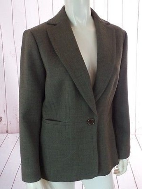 Ann Taylor Ann Taylor Blazer Olive Green Heather Wool Button Front Seamed Waist Chic Image 3