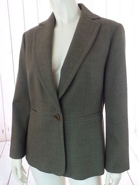 Ann Taylor Ann Taylor Blazer Olive Green Heather Wool Button Front Seamed Waist Chic Image 4
