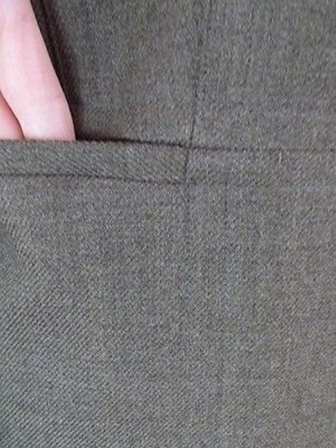 Ann Taylor Ann Taylor Blazer Olive Green Heather Wool Button Front Seamed Waist Chic Image 5