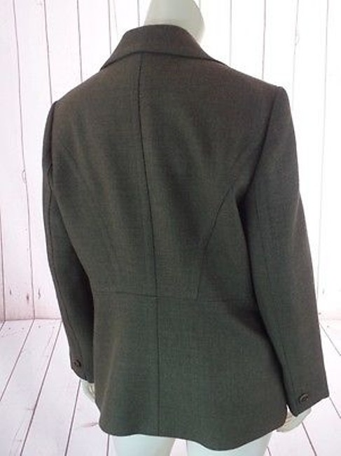 Ann Taylor Ann Taylor Blazer Olive Green Heather Wool Button Front Seamed Waist Chic Image 9