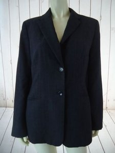 Ann Taylor Ann Taylor Blazer Dark Gray Heather Fine Stripe Wool Blend Lightweight Classy