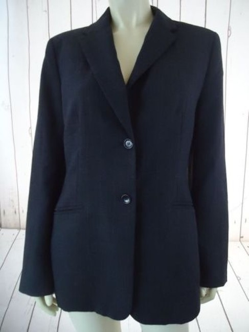 Ann Taylor Ann Taylor Blazer Dark Gray Heather Fine Stripe Wool Blend Lightweight Classy Image 1