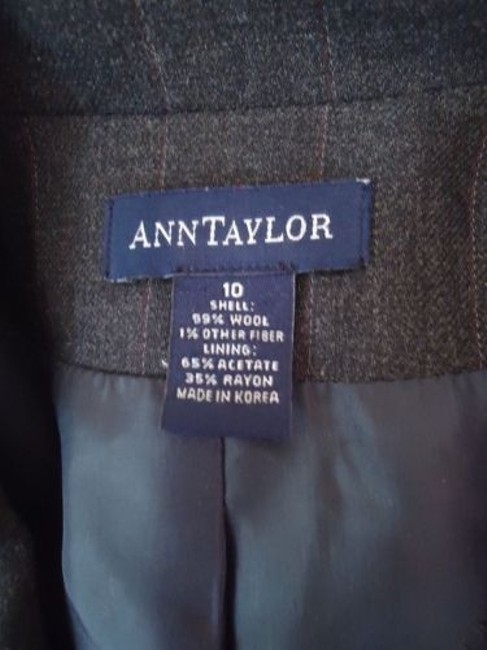 Ann Taylor Ann Taylor Blazer Dark Gray Heather Fine Stripe Wool Blend Lightweight Classy Image 10