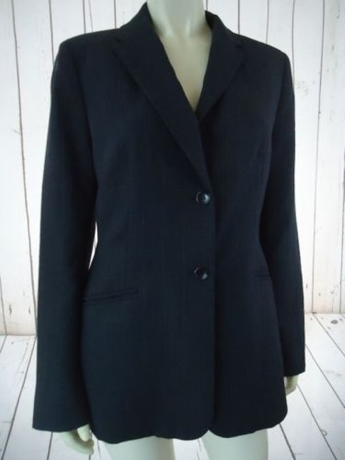 Ann Taylor Ann Taylor Blazer Dark Gray Heather Fine Stripe Wool Blend Lightweight Classy Image 2
