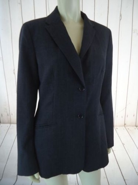Ann Taylor Ann Taylor Blazer Dark Gray Heather Fine Stripe Wool Blend Lightweight Classy Image 3