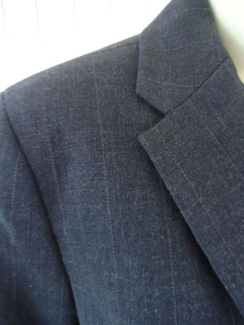 Ann Taylor Ann Taylor Blazer Dark Gray Heather Fine Stripe Wool Blend Lightweight Classy Image 4