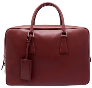 Prada Designer Luxury Leather Tote in Dark Red