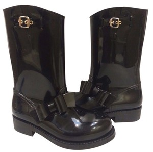 RED Valentino Waterproof Rubber Rain Black Boots