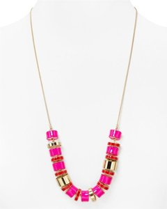 Kate Spade Kate Spade Flats Necklace NWT Bright Pink and 12K Gold Beads