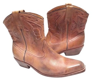 Bed|Stü Cowgirl Western Leathe Tan Rust Boots